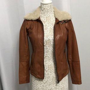 Banana Republic Shearling Collar Leather Jacket